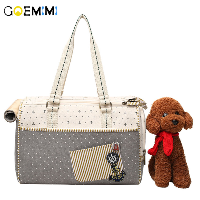 Brand New Pet Dog Canvas Carrier Portable Sailor pattern Puppy Outdoor Bag Top Quality Breathable Handbags