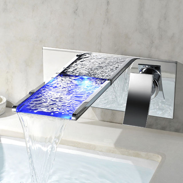 Modern LED Wall Mounted Waterfall Bathroom Faucet in Chrome Finish ...