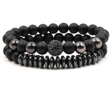 HOBBORN Trendy Couple Bracelet Set 8mm Matte Black Onyx Handmade Strand Healing Reiki Prayer Balance Energy Women Men Bracelets