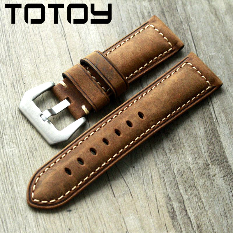 TOTOY Handmade Crazy Horse Leather Watchband, 20MM 22MM 24MM 26MM For PAM111 Male Rough Style Strap Fast Delivery