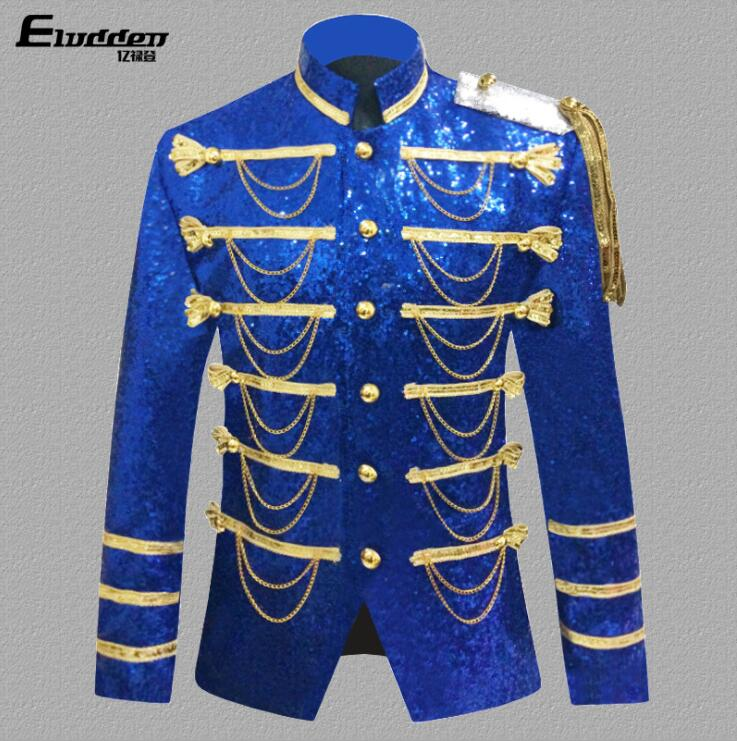 clothes men suits designs masculino homme terno stage palace Sequin Chain military uniform singers jacket men blazer dance black in Blazers from Men 39 s Clothing