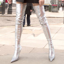 2018 New Footwear Glitter Thigh High Boots Pointed Toe Bling Silver Goldxy Ladies  Stiletto Heels Women 3cf4bb2fef1b