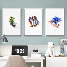 Simple Painting Splash Classic Game Mario Sonic Cartoon Canvas Painting Art Print Poster A4 Picture Wall Decoration Home Decor худи print bar mario sonic