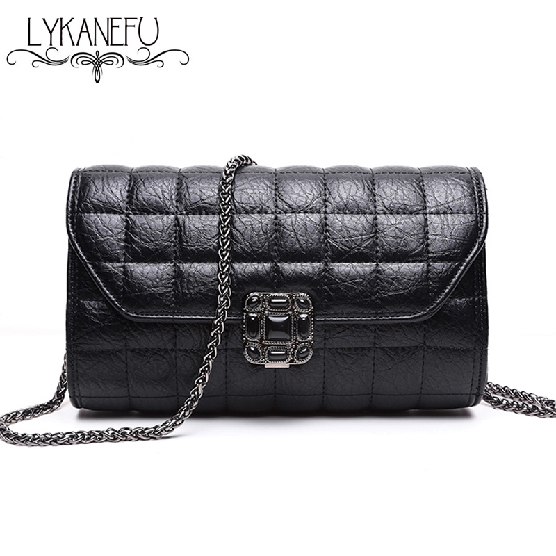 LYAKENFU Brand Handbag Women Messenger Crossbody Bag Ladies Purse Sac a Main Femme de Marque Luxe Cuir 2017 Handbags with Chain hongu genuine leather shoulder messenger bags for women pillow shape sac a main femme de marque luxe cuir 2017 black pink online