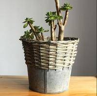 雑貨レトロ鉄植木鉢プランターホーム装飾クラシック柳の装飾デスクトップポット