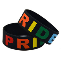 1pc Gay Pride Wristband Siliocn Bracelet Filled In Colour Free Shipping