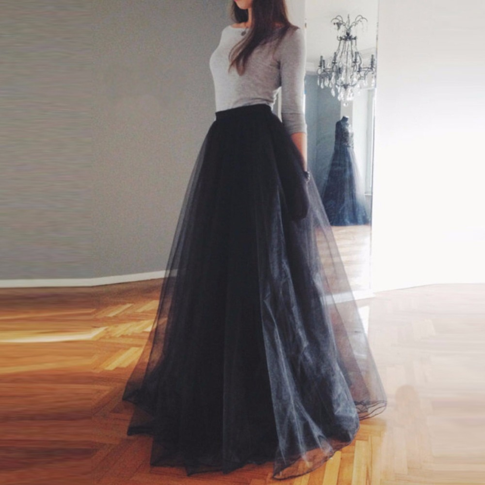 118cm PLUS SIZE WOMEN GIRL Tulle Skirt Elegant Pleated Tutu Skirts Womens Vintage Lolita Petticoat faldas mujer Saias Jupe