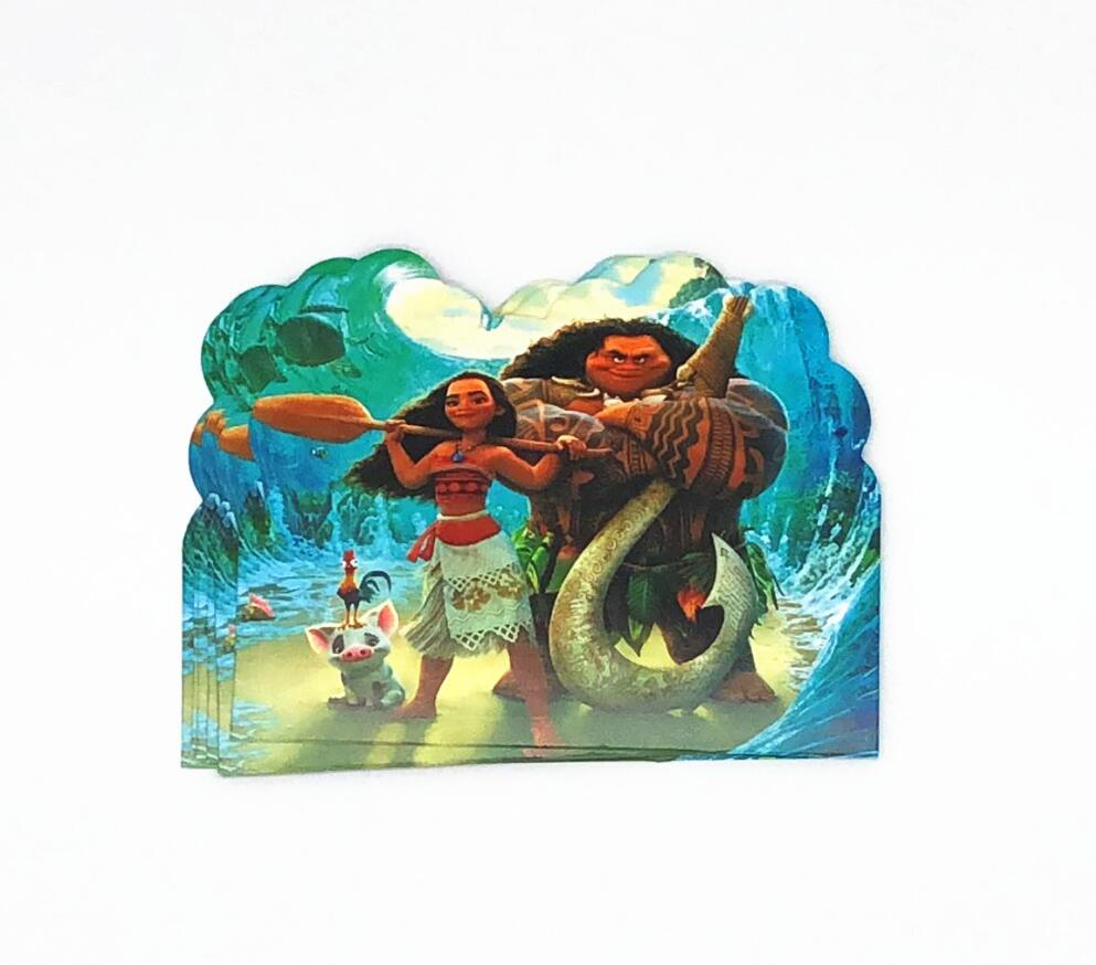 10pcs Moana Theme Party Paper Invitation Card Birthday Party Decorations Kids Shower Supplies Party
