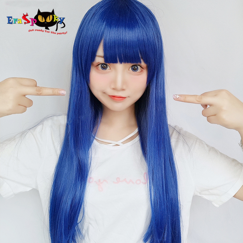 Eraspooky POP TEAM EPIC Cosplay Pipimi Blue Hair Popko Yellow Short Wig Anime Role Play Wigs Synthetic Halloween Costumes Hair