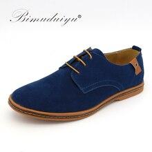 BIMUDUIYU Marke Minimalistisches Design Wildleder Herren Freizeitschuhe Heißer Verkauf Flache Britischen Stil Oxford Schuhe Große Größe 38-48
