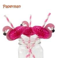 Flamingo Kağıt Saman Süslemeleri Parti Masa Dekor Içme Payet Dekoratif Parti Malzemeleri Pembe Renk Sweet Lady Aşk