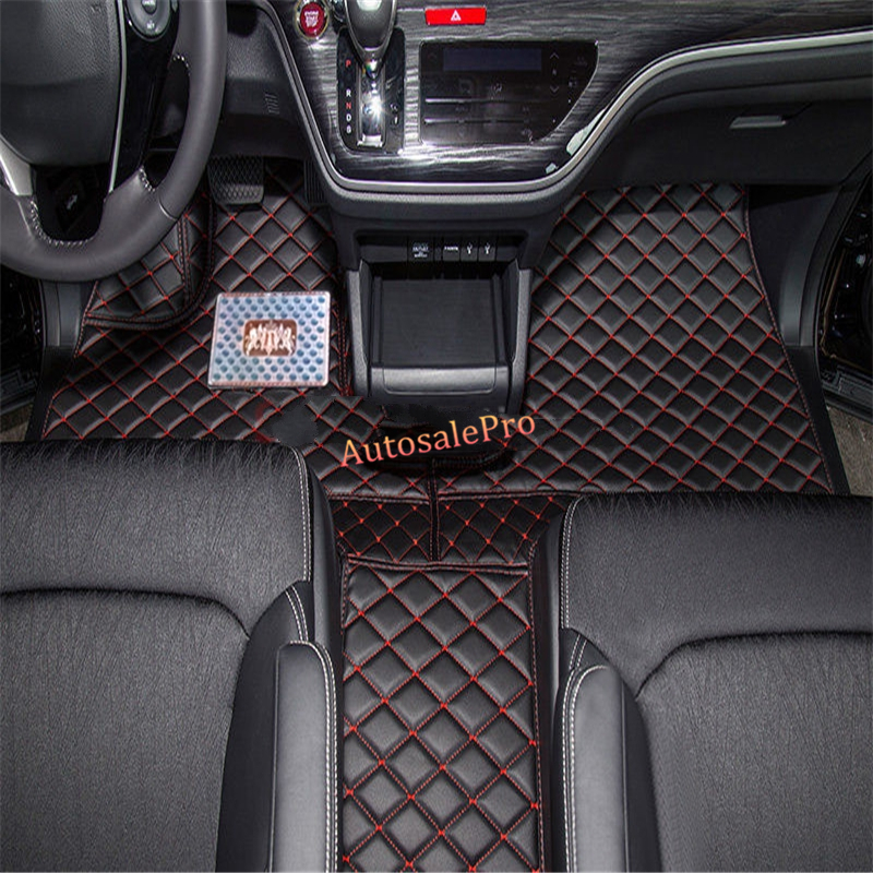 For Honda Fit Jazz hatchback 2004 2005 2006 2007 2008 Left Hand Drive! Black red grid Front Rear Floor Mat Carpets Pad Cover 2004 2006 for bmw x5 e53 2004 2005 2006 accessories interior leather carpets cover car floor foot mat floor pad 1set