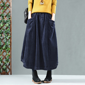 Image 4 - Spring Autumn Skirt Retro Women Elastic Waist Skirt Loose pocket Button Solid color Solid color Casual Ladies Bud Skirt 2019