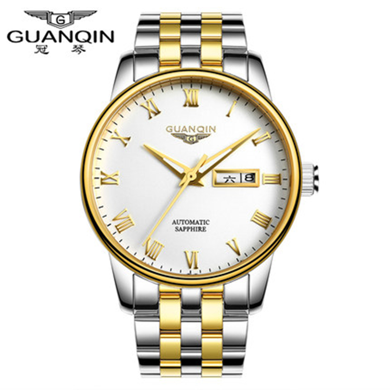 2016 GUANQIN Men Watch Top Brand Luxury Fashion Casual Sports Wristwatches Mechanical Watches Men Relogio Masculino waterproof winner skeleton mechanical watch luxury men black waterproof fashion casual military brand sports watches relogios masculino