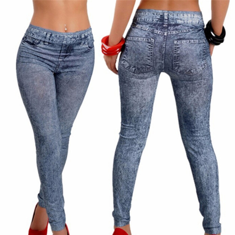 Women Leggings Denim Jeans Pants With Pocket Slim Leggings Women Fitness Blue Black Leggins
