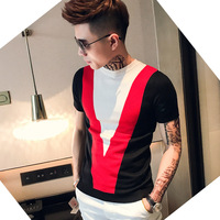 Men Slim Fit Knitting Short Sleeve T shirt Male Summer Fashion Casual Tees Shirts Mens Streetwear Hip Hop T Shirt