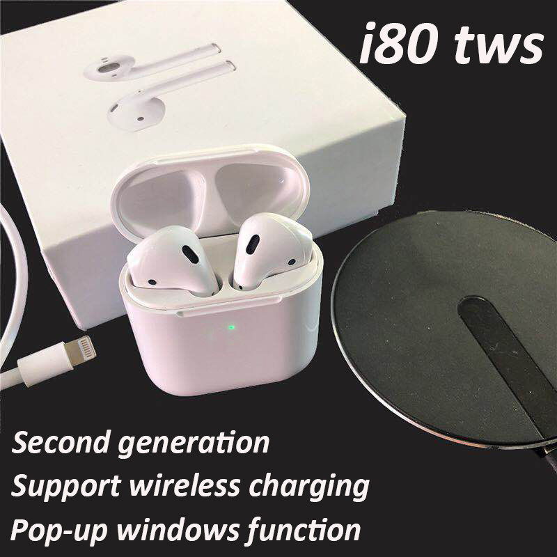 I80 TWS Air 2 Bluetooth 5.0 écouteurs 2 génération sans fil charge W1 puce Pop Up Windows écouteurs sans fil casque