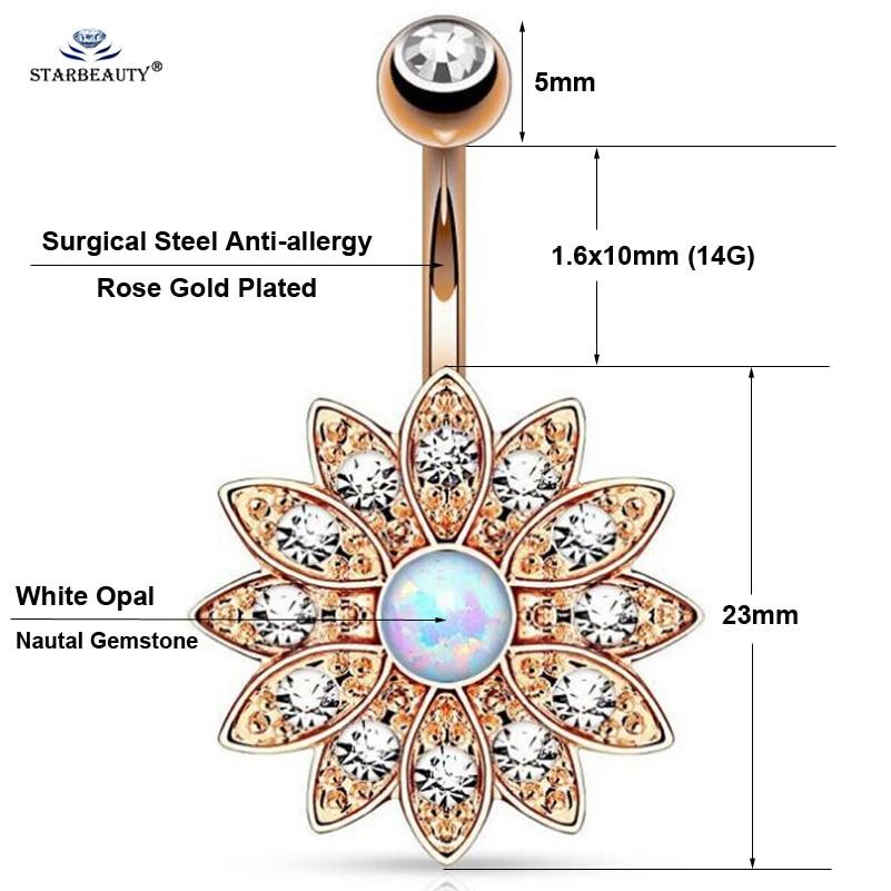 1pc puro loto opale anelli piercing ombelico piercing ombelico - Bigiotteria - Fotografia 3