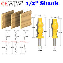 """2 adet 1/2 """"Shank Büyük Geri Dönüşümlü Taç Kalıplama 2 Bit Yönlendirici Bit Set Hattı bıçak Tenon Kesici için Ağaç İşleme araçları"""