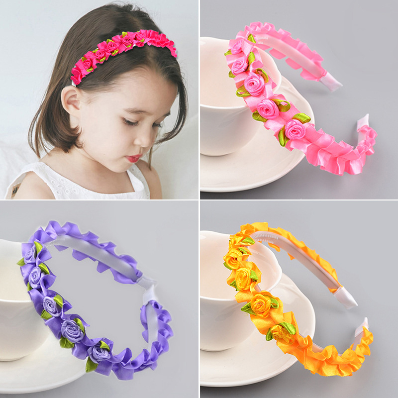 Аксессуары для волос для девочек, повязка на голову в виде цветочной короны, повязка на голову, романтичный детский ободок, 8 цветов