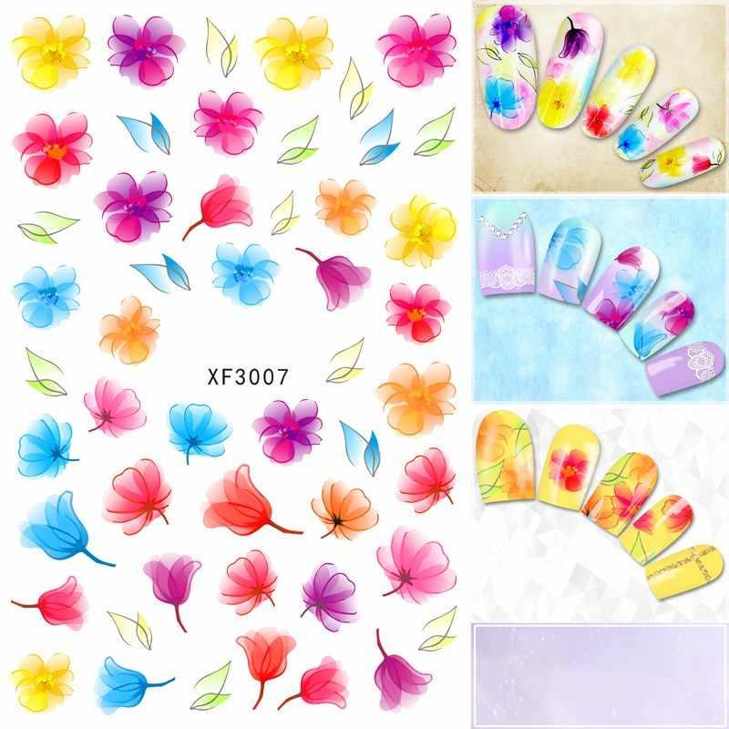 Diseño 3D de flores de moda, calcomanías de Arte para uñas transferibles al agua, calcomanías para manicura de mujer, venta al por mayor de XF3007