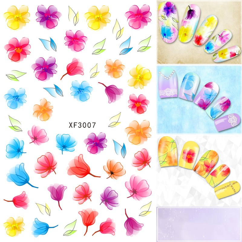 fashion 3D flower design Water Transfer Nails Art Sticker decals lady women manicure tools Nail Wraps Decals wholesale XF3007