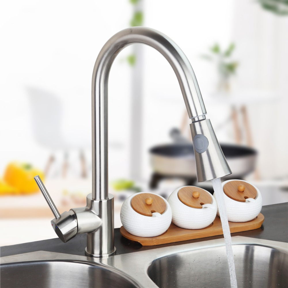 ФОТО  Newly Patent Design 360 Swivel 100% Solid Brass Single Handle Mixer Sink Tap Pull Out Down Kitchen Faucet In Brushed Nickel