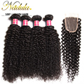 4 Bundles With Closure Brazilian Curly Hair With Closure Brazilian hair Style 100% Virgin Human Hair With Closure