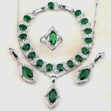 925 Sterling Silver Women Jewelry Sets Top Quality Green Zircon White Zircon Earrings/Pendant/Necklace/Ring/Bracelet Free Box