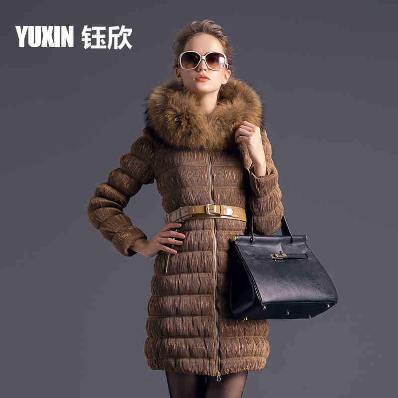 2015 New Winter Thicken Warm Woman Down jacket Coat Parkas Outerwear Hooded Raccoon Fur collar Luxury High Long Plus Size 2XXL