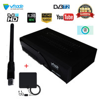 Vmade DVB T2+USB WIFI+Indoor antenna Signal Receiver DVB T Digital Receiver DVB T2 H.265 with RJ45 Support Dolby AC3 Youtube