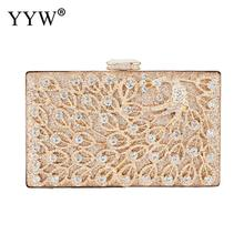 Gold Formal Flower Evening Bag For Wedding Party Luxury Glitter Rhinestone Crystal Clutch Purse Bridal Prom Handbag Women