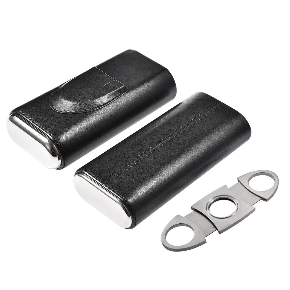 Portable Leather Cigar Case Holder Black Homidor Cigar Case Mini Travel Humidor With Cigar Cutter