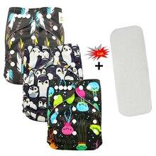 Ohbabyka моющиеся подгузники, детские тканевые подгузники, покрывающие подгузники, складные многоразовые подгузники, детские трусики, детские подгузники с карманами+ вставка