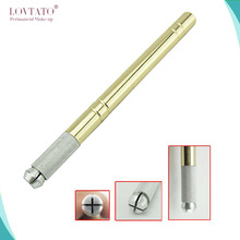 Golden Tebori Pen Microblading pen tattoo machine voor permanente make-up handmatige pen met 2-delig naaldmes