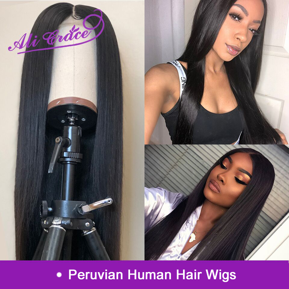 Ali Grace Peruvian Straight 360 & 13x6 Lace Frontal Wigs Pre-plucked Natural Hairline With Baby Hair Remy Human Hair Wigs(China)