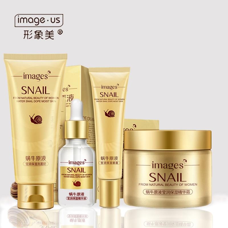 4 piezas de caracol para el cuidado de la piel de crema de día/esencia/crema de ojos/limpiador Anti envejecimiento reparación blanqueamiento de enfermería Facial conjunto