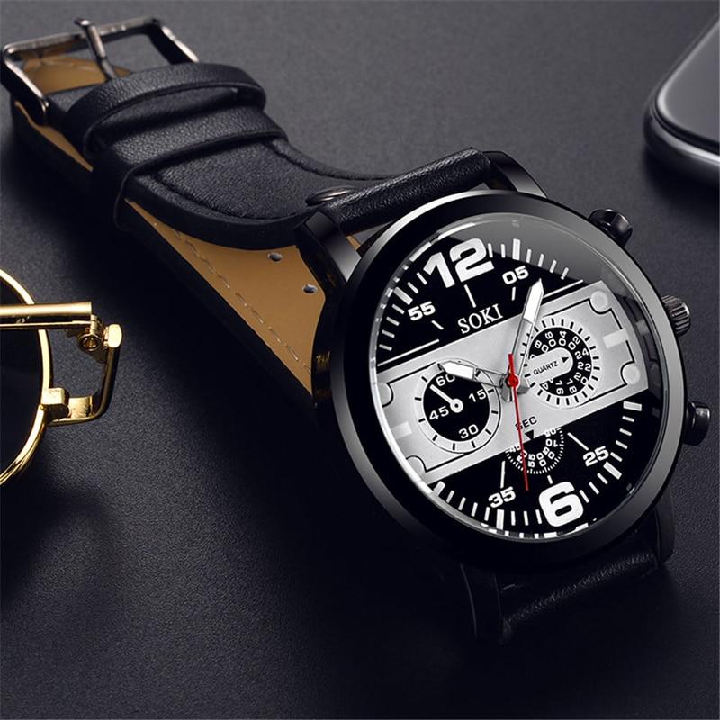 SOKI Luxury Brand Men Watches Auto Date Chronograph Quartz Watch Men Gold Casual Sport Military Leather Strap Watch