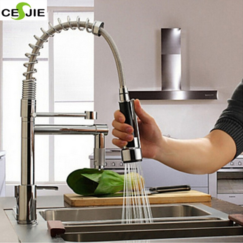 ФОТО Modern Solid Brass Chrome Polish Spring Kitchen Faucet Mixer Tap Faucet Single Handle Hole