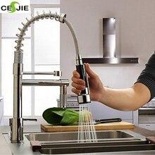 Современная Твердый Латунный Chrome Польский Весной Кухонный Кран Смеситель Кран Одной Ручкой Отверстие