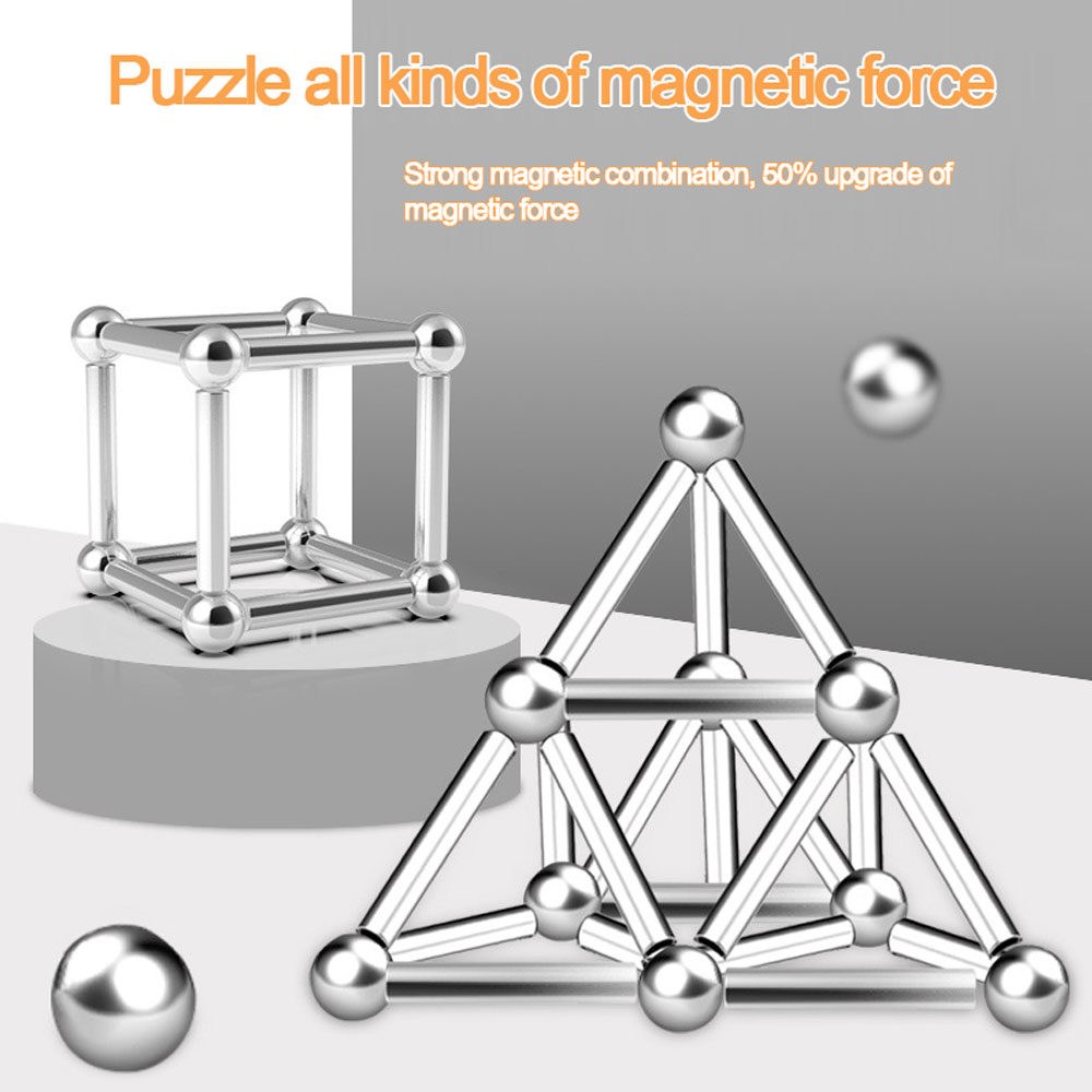Magnet Bars Magnet Balls DIY Magnet Toy Magnetic Blocks Model & Building Educational Toys For Children Kids Gift