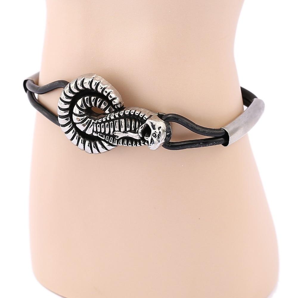 94adeef47328 Vintage plata Snake colgante negro doble pulseras de cuero para las mujeres  hombres joyería Amuletos pulsera pulseira masculina