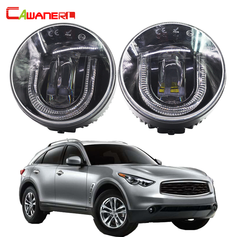 Cawanerl 2 X Car Accessories LED Fog Light DRL Daytime Running Lamp 12V For Infiniti FX35 3.5L V6 2006-2012 cawanerl 2 x car led fog light drl daytime running lamp accessories for nissan note e11 mpv 2006