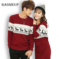RASMEUP 2016 Autumn Winter Christmas Sweater Lover Cartoon Knitted Couples Women's Sweater Dress Pullovers Deer Sweater S-xxl