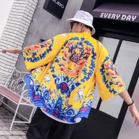 2019 summer dragon kimono men japanese streetwear kimono cardigan men black windbreaker men coat