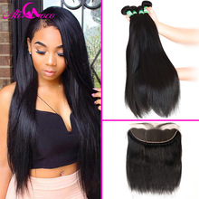 Ali Coco Brazilian Straight Hair Bundles with Lace Frontal 3 Bundles with Frontal 13*4 Human Hair With Baby Frontal Non Remy