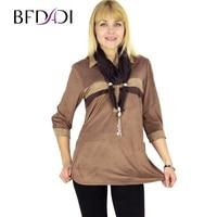 BFDADI 2016 New Spring T Shirt Women Fashion Turn Down Collar Long Sleeve Loose Tops Shirt Plus Size Stitching Tee +Scarf 3268