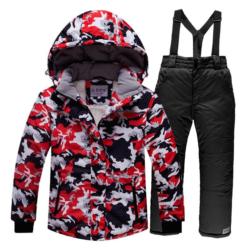 Camouflge Children Skiing Suit Thickening 4 14Years Girl Boy Windbreak Waterproof Fleece Ski Jacket Pants Warm