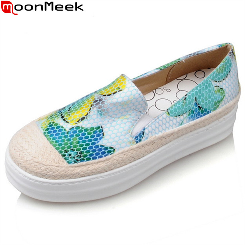 MoonMeek 2017 hot sale new arrive women flats fashion print round toe spring autumn shoes simple comfortable big size 34-43