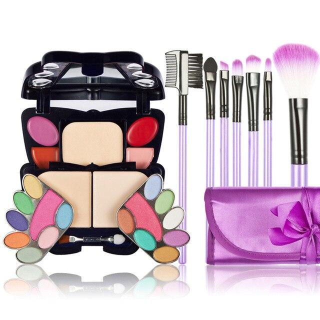 22Color Makeup Palette Face Cream Eyeshadow Lip Blusher Concealer Base Contour+7 PCS Makeup Brushes Maquiagem Cosmetics Kits